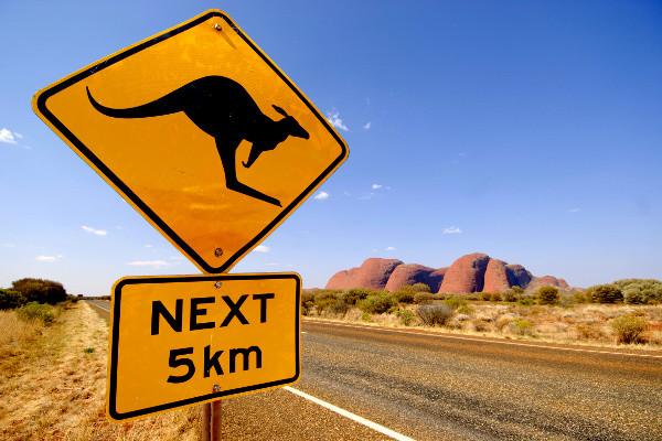 Panneau kangourou - Australie - Au Royaume des Kangourous Circuit Au Royaume des Kangourous Perth Australie